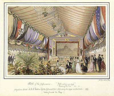 Sketch Of The Performance Played On Board Hms Galatea  Looking Towards The Stage 1869 By Nichol Art Print