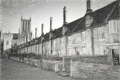 Vicars Close Photograph - Sketch Of Vicars Close Next To Wells Cathedral Somerset, England Dating From The 15th Century by Michael Charles