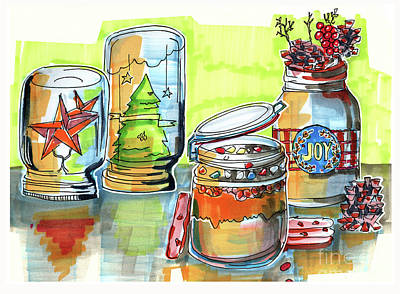 Art Print featuring the drawing Sketch Of Winter Decorative Jars  by Ariadna De Raadt