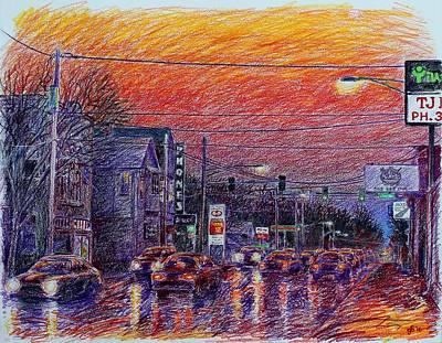 Sketch Study Of Going East On East Locust Street Original by Glenn Boyles