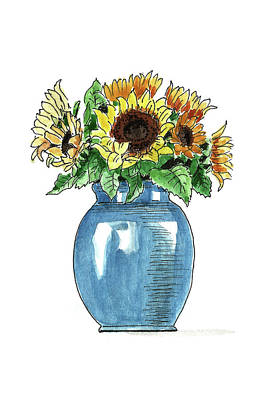 Painting - Sketch. Sunflowers In A Blue Vase by Masha Batkova