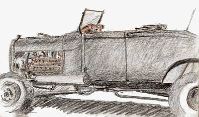 Street Rod Drawing - Sketchbook 019 by David King