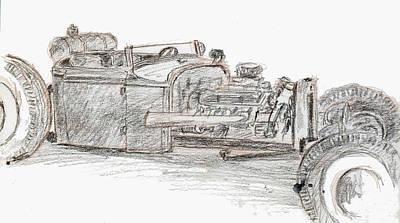Street Rod Drawing - Sketchbook 022 by David King