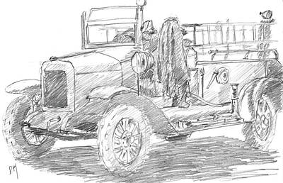 Truck Drawing - Sketchbook 087 by David King