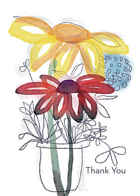 Yellow Daisy Wall Art - Mixed Media - Sketchbook Flowers Thank You- Art By Linda Woods by Linda Woods