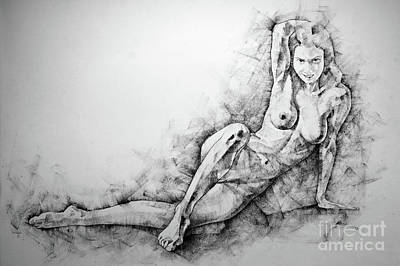 Drawing - Sketchbook Page 38 Female Sitting Lateral Pose Drawing by Dimitar Hristov