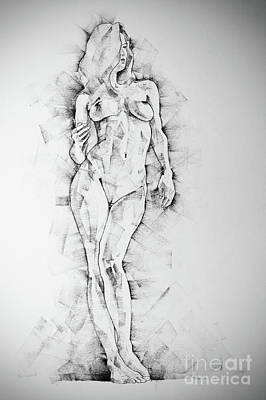 Drawing - Sketchbook Page 43 Drawing Of Standing Figure Of A Woman by Dimitar Hristov