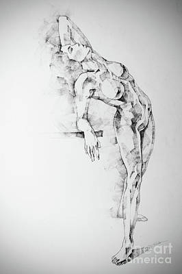 Drawing - Sketchbook Page 52 Girl Art Drawing Classical Pose by Dimitar Hristov