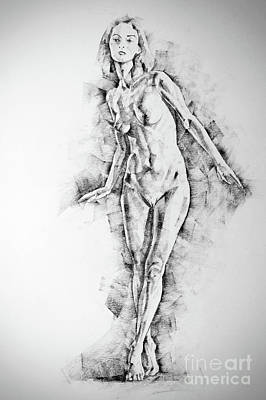 Drawing - Sketchbook Page 56 Girl Stand Up Pose Drawing by Dimitar Hristov