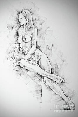 Drawing - Sketchbook Page 57 Woman One Side Sitting Pose Drawing by Dimitar Hristov
