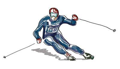 Sketched Skier Art Print