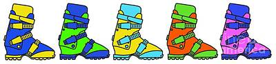 Digital Art - Ski Boots Tee by Edward Fielding