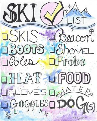 Ashlee Painting - Ski Check List by Erin Ashlee Smith
