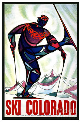 Skiing Poster Painting - Ski Colorado by Pd