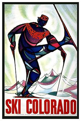 Colorado Ski Art Wall Art - Mixed Media - Ski Colorado, United States - Colorado Winter Sports - Retro Travel Poster - Vintage Poster by Studio Grafiikka