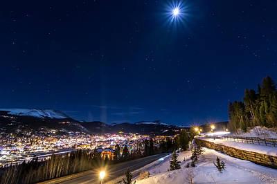 Ski Hill Under Moonlight Art Print by Michael J Bauer