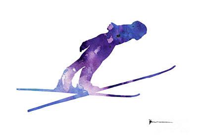 Ski Painting - Ski Jumper Art Print by Joanna Szmerdt