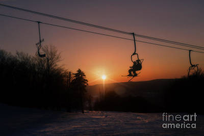 Photograph - Ski Lift At Sunset by Dan Friend