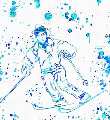 Ski Paint Splatter Art Print by Dan Sproul