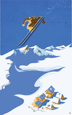 Switzerland Painting - Sky Skier by Sassan Filsoof