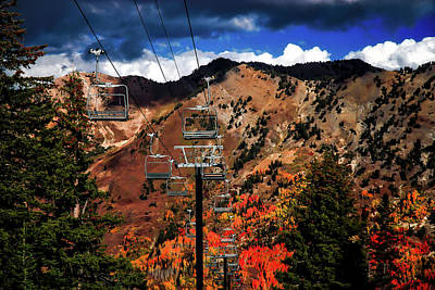 Empty Chairs Photograph - Ski Slope In Autumn by Mountain Dreams