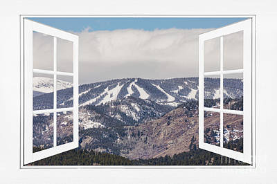 Photograph - Ski Slopes Open White Picture Window Frame Art View by James BO Insogna