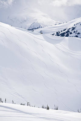 Ski Tracks On Whistler Blackcomb Mountain, British Columbia, Canada Art Print