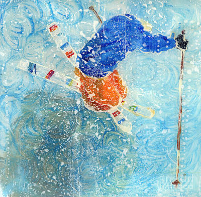 Ski Painting - Ski Trick In Snow1 by Sara Pendlebury