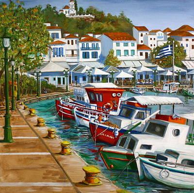 Skiathos Painting - Skiathos Old Port by Yvonne Ayoub