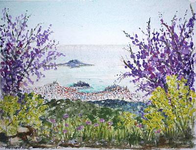 Skiathos Town And Judas Trees Art Print by Yvonne Ayoub