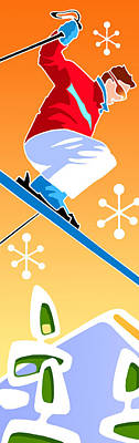 Digital Art - Skier Diptych Left Side by Larry Hunter