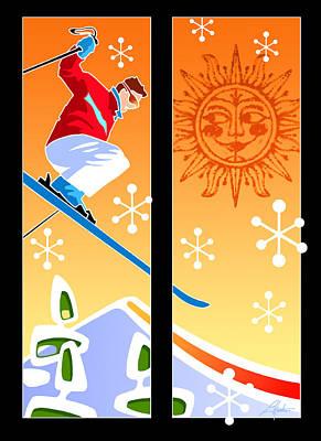 Digital Art - Skier Diptych Mid-century Modern by Larry Hunter