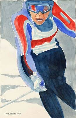 Skier Art Print by Fred Jinkins