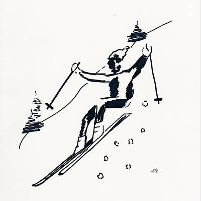 Maine Mountains Drawing - Skier I by Winifred Kumpf