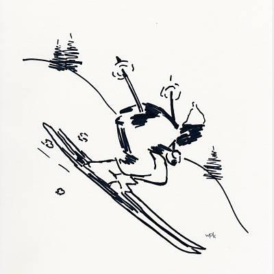 Maine Winter Drawing - Skier II by Winifred Kumpf