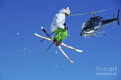 Verbier Photograph - Skier In Green And White Performing A Jump by Neil Harrison