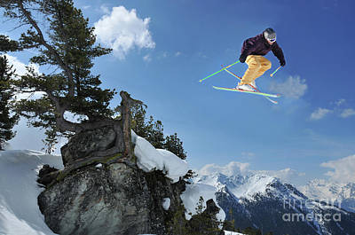 Verbier Photograph - Skier Jumping From Rocks With An Arolla Pine by Neil Harrison