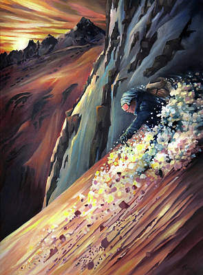 Painting - Skier On The Steeps by Nancy Griswold
