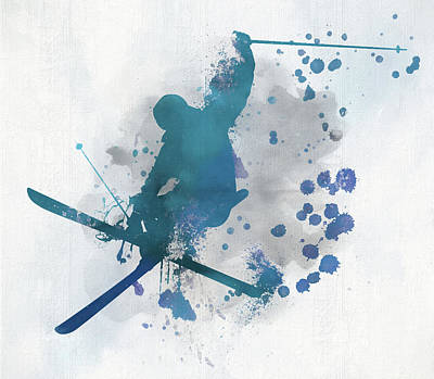Sports Royalty-Free and Rights-Managed Images - Skier Paint Splatter by Dan Sproul