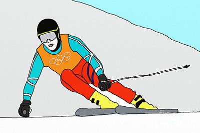 Skier Art Print by Priscilla Wolfe