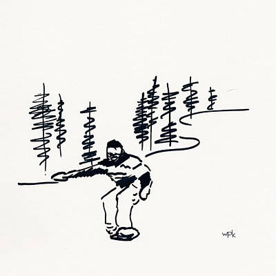 Maine Mountains Drawing - Skier Vii by Winifred Kumpf