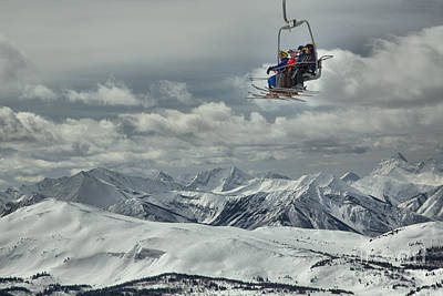 Photograph - Skiers Above The Canadian Rockies by Adam Jewell