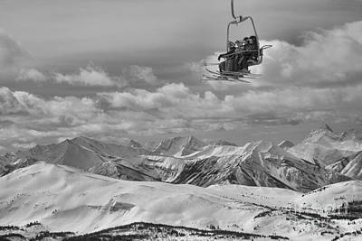 Photograph - Skiers Above The Canadian Rockies Black And White by Adam Jewell