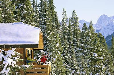 Skiers On Balcony Of Ski Lodge Prepare Art Print