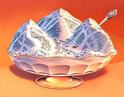 Cream Drawing - Skiers Sundae by Robin Moline