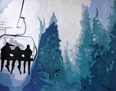 Painting - Skiers by Carrie Diaz