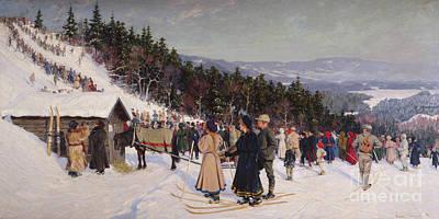 Ski Painting - Skiin Competition In Fjelkenbakken by Gustav Wentzel