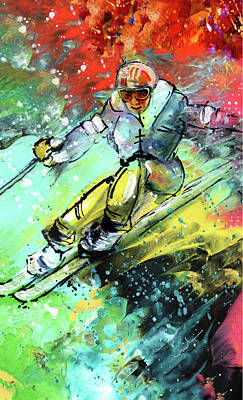 Painting - Skiing 11 by Miki De Goodaboom