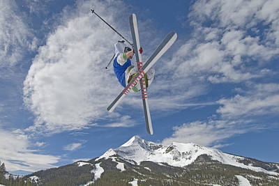 Skiing Action Photograph - Skiing Aerial Maneuvers Off A Jump by Gordon Wiltsie