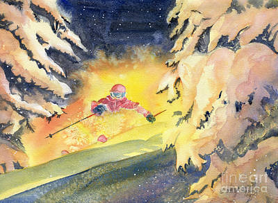 Skiing Action Painting - Skiing Art by Melly Terpening